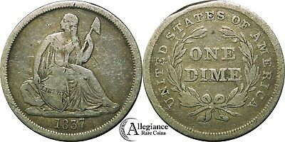 1837 10c Seated Liberty Dime NO STARS nice original rare old type coin 1st year