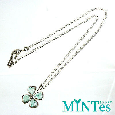 [CHANEL] Chanel Clover Motif Necklace 98 P Clear Green Silver [Used]