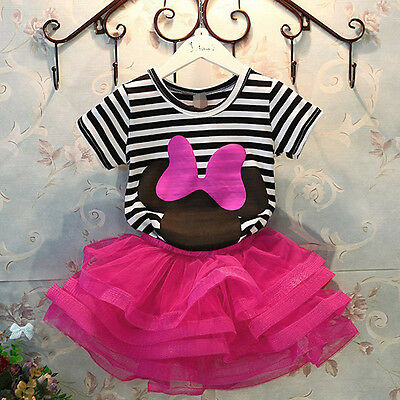 2pcs Newborn Toddler Infant Baby Girls Clothes T-shirt Tops+Skirt Outfits Sets