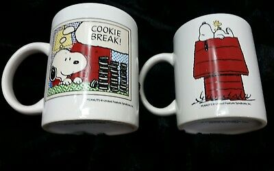 Vintage Snoopy Woodstock on Doghouse And Cookie Break Coffee Cup Mugs