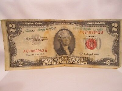 1953 A $2 Dollar Bill United States Legal Tender Red Seal Note Paper Money