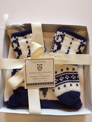 Pottery Barn Kids Baby Knit Owl Critter Hat, Bootie Set 3-6 Months New In Box