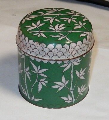 Rare Chinese Cloisonne Green Enamel Bamboo Jar Canister Humidor Box