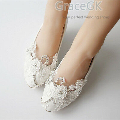 65dbe5eb19 Lace white ivory crystal Wedding shoes Bridal flats low high heel pump size  3-10