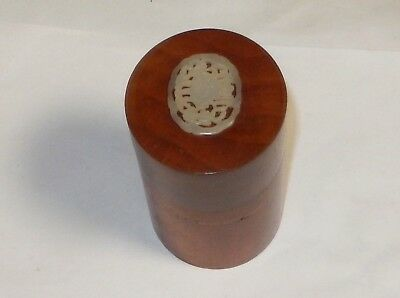 Chinese Red Wood White Carved Jade Top Humidor Jar Box