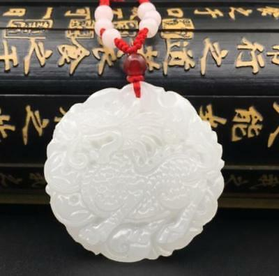 Natural hand engraving White Jade lucky Kylin fashion pendant necklace