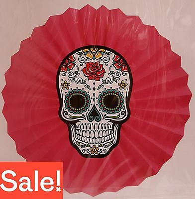 Sugar Skull Pink Day of the Dead Hanging Fan Party or Halloween Decoration NEW