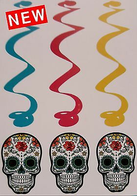 Sugar Skull Hanging Swirl Hanging Decoration Day of the Dead NEW