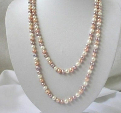 Natural Multicolor 7-8mm White Pink Purple Freshwater Pearls Necklace36'' A++