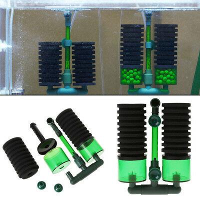 Aquarium Fish Tank Biochemical Sponge Filter Air Pump Double Head Suction Cup UK