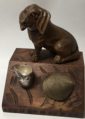 Hand Carved Beagle with Pretty Glass Eyes - Thimble Holder & Pincushion