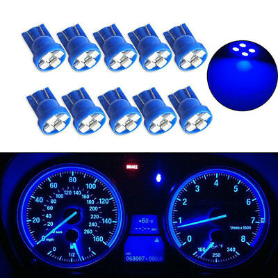 10PCS Unique T10 W5W 194 4SMD LED Wedge Dashboard Gauge Cluster Light Bulbs Blue