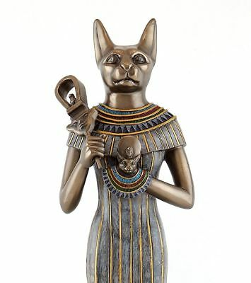 "Large Egyptian God Bastet with Sistrum Cold Cast Bronze Statue Figurine 15.5"""" H"