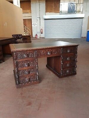 Antique Desk Green Man Oak Leather Topped Pedestal Desk (New Leather Top Fitted