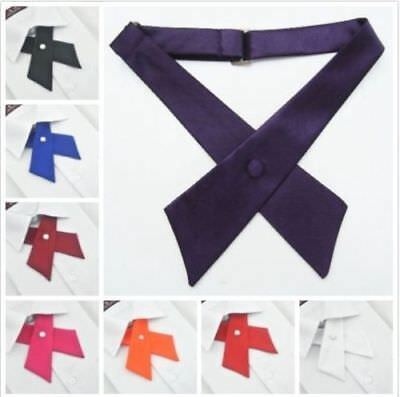 Women Uniform Neck Tie Adjustable Cross Knot Collar Bowtie Party Bow Tie 8Colors