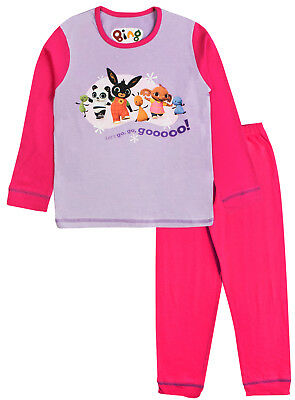 Bing Bunny Pyjamas Girls Pink Cbeebies Character Pjs 2 Piece Set Childrens Size