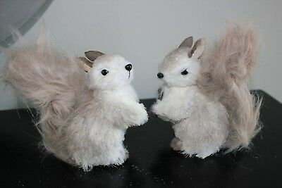 Squirrel Figurine Statue Raz Imports Rustic New Lot of 2 Christmas Snow White