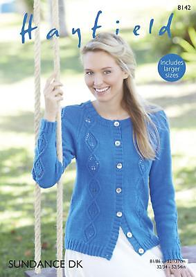 de41d3be2a897d Sirdar 8142 Knitting Pattern Womens Cabled Cardigan in Hayfield Sundance DK