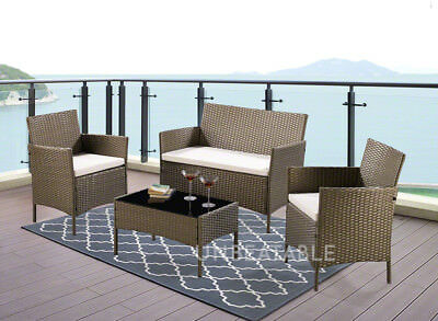 4 or 5 Piece Rattan Garden Furniture Set Choice of Colour with Cover Brand New