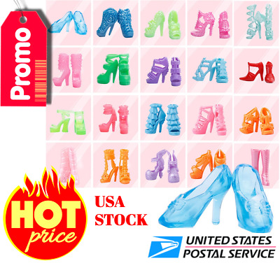 40 Pairs Different High Heel Shoes Boots Accessories For Barbie Doll USA STOCK