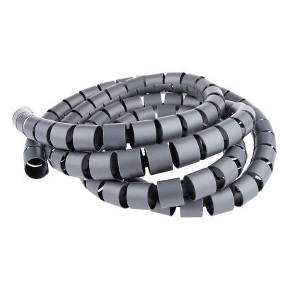 Black 2m 10mm PE Plastic Spiral Cable Wrap Winder Organizer Stowing Tool