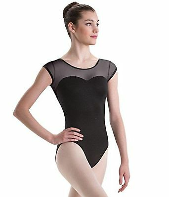 Motionwear Sweetheart Cap Sleeve Dance Leotard Black Mesh Intermediate Ch... New