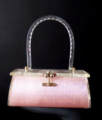 Charles Kahn - 1950s Pink & Clear Etched Lucite Purse