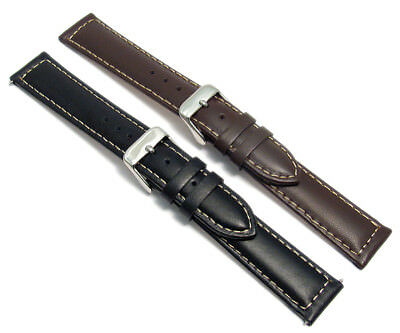 Men's Smooth Contrast Stitched Padded Leather Watch Strap 16mm 18mm 20mm c030
