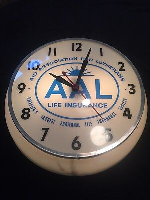 Original Vintage AAL Advertising Lighted Clock by Dualite Rare!