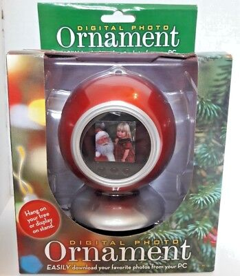 """DIGITAL PHOTO ORNAMENT USB 1.5"""" Display 8 MB Pictures Frame Christmas Decor NEW"""