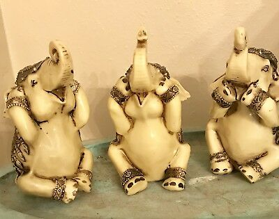 Wise Elephant Figurines, Hear, See, Speak No Evil, 5.3 Inches, Tan, Free Ship
