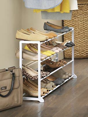 4 Tier Shoe Storage Rack Stand Organizer Cabinet Shelf Easy Assemble f/ 12 Pairs & 4 TIER SHOE Storage Rack Stand Organizer Cabinet Shelf Easy Assemble ...
