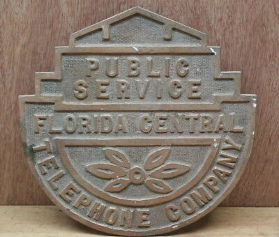 Vintage Florida Central Telephone Company Brass Building Plaque Centel History