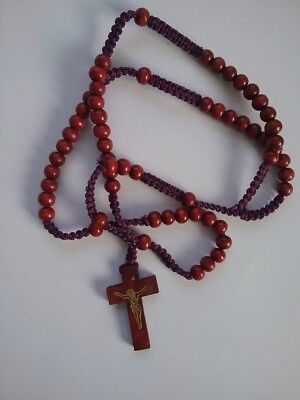 Corded Wooden Rosary (Red Beads)