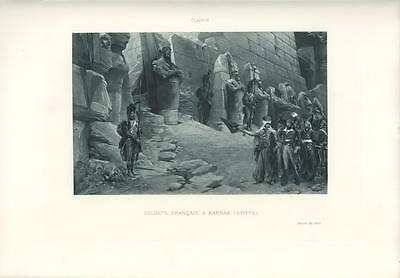 Antique French Soldiers At Pharaoh Karnak Egypt Temple Pyramid Egyptian Print