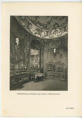 Antique Vintage Sanssouci Palace Library Room Ornate Rococo Architecture Print