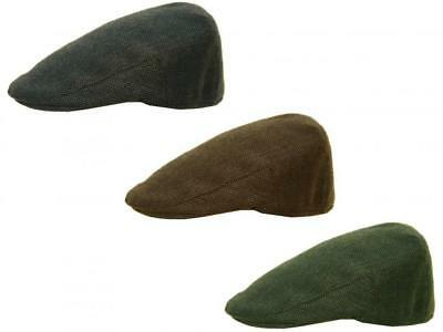 7e00019abbbc3 Hawkins Herringbone Tweed Flat Cap with Quilted Lining 3 Colours 4 Sizes