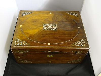 Antique Victorian Rosewood Writing Box, Mother-Of-Pearl Foliate Spandrels, 1840