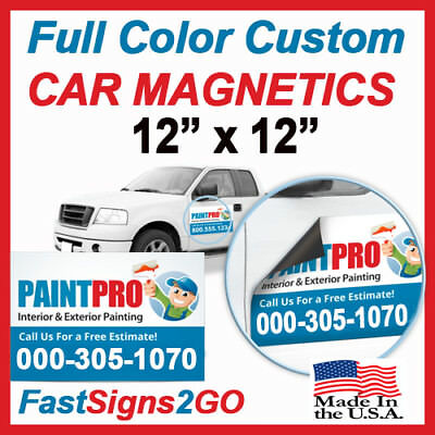 12x12 Custom Full Color Car Magnets  Magnetic Auto Truck Signs - QTY 2 (pair)