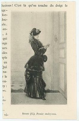Antique Victorian Woman Fur Black Coat Dress First Appointment Miniature Print