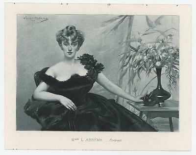 Antique Victorian Woman Black Evening Gown Buxom Flower Vase Miniature Print