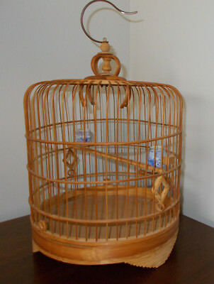 Old Antique Vintage Chinese Bamboo Wood Folk Art Hanging Bird Cage W Feeders
