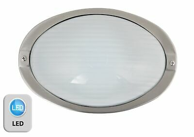 Stainless Steel /& Glass IP44 LED Oval Bulkhead Outdoor Garden Porch Wall Light