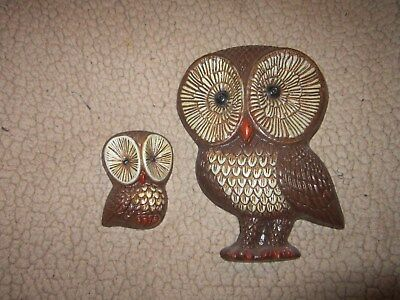 Vintage Wood Brown OWL Wall Hanging PAIR  Retro 70s Decor Large & Small