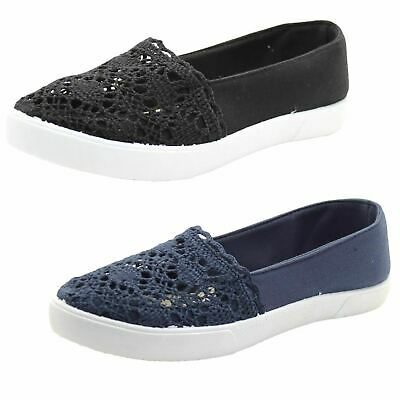 Womens Summer Crochet Flat Pump Comfy Padded Footbed Trainer Slip On Canvas Shoe