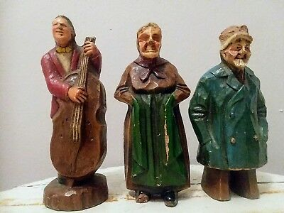 3 Vintage Antique Hand Carved Wooden Figurines - Fisherman, Musician, Old Woman