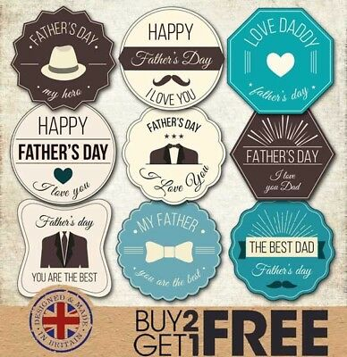 24x 40mm Happy Father's Day Retro Black/Teal Stickers/Card/Shop Best Dad/Labels