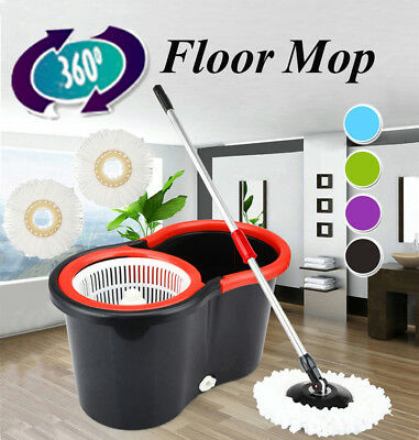 360° Floor Magic Spin Mop Bucket Set Microfiber Rotating Dry Heads With 2 Heads