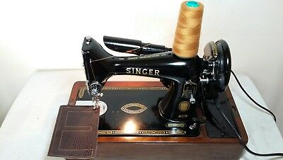 Heavy Duty Singer 99K Electric Sewing Machine, sews Leather, Serviced &PAT test