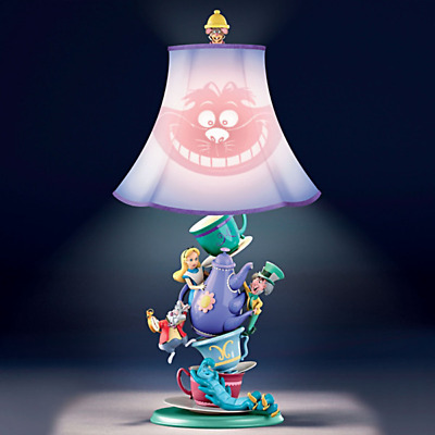 Bradford Exchange Disney Alice in Wonderland Tea Party Lamp NEW Cheshire Cat